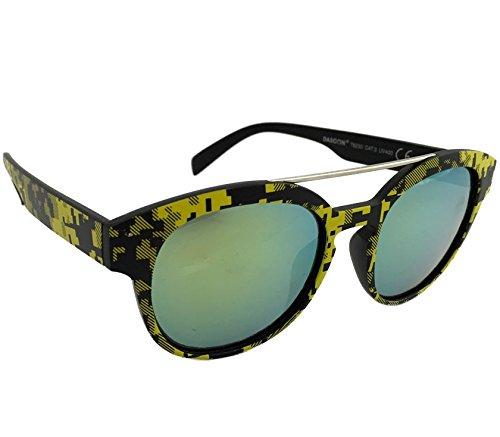 Dasoon Vision Gafas de Sol con Estampado geométrico en Color Amarillo