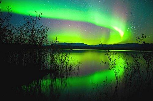 1art1 Polarlichter - Polarlicht Spiegelt Sich Im See Selbstklebende Fototapete Poster-Tapete 180 x 120 cm