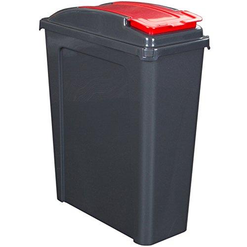25 Liter Recyclingtonne mit abnehmbaren Deckel 40x19x51cm in Graphit-Rot - Mülleimer Abfalleimer Eimer Papierkorb Abfallsammler Recycling