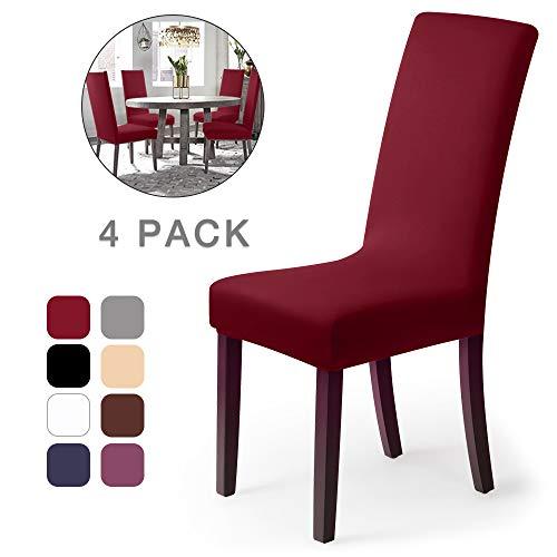Coprisedie con schienale 4 pezzi Elasticizzato Copertura della sedia bi-elastico per una misura universale, Coppia spandex Coprisedia molto facile da pulire e di lunga durata (4 pezzi,Bordò Rosso)