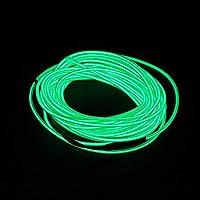 車の装飾パーティーの服のための1-5mの損なわれたネオンルーズグローエルワイヤーロープケーブルの縞 車に適しています (Color : Green, Size : 1m)