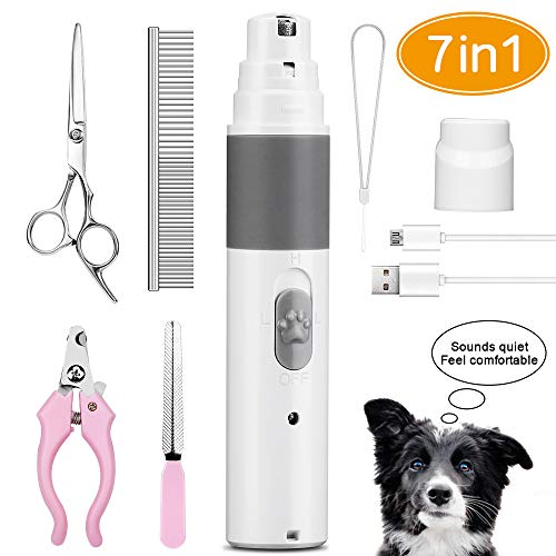 Senignol Dog Nail Grinder, Electric Pet Nail Trimmer Clipper, Ultra-Quiet Dog Nail Grooming Kit, Rechargeable Painless Dog Nail Clippers for Large Medium Small Breed Dogs and Cats Paws