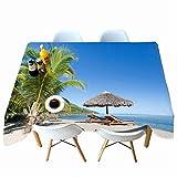 AMON LL Mantel 3D Mantel Rectangular, Paisaje Junto al mar Mesa de Comedor Cubierta para Cocina Decorativa Fiesta Boda Decoración,E,152x259cm