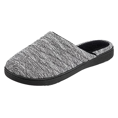 isotoner Women's Space Knit Andrea Clog Slippers, Black, Large/ 8.5-9 Standard US Width US
