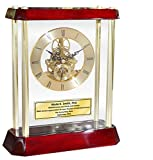 Gold Mantle Clock Awards Retirement Gifts Engraved Personalized Davinci Dial Clock Suspended Glass Cherry Base Anniversary Promotion Service Employee Recognition Award