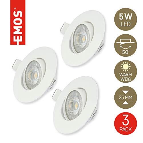 Emos Exclusive ultraflache LED Einbaustrahler 50° schwenkbar, Set mit 3 Stück Spots rund, 5W / 450lm / warmweiß 3000k, LED Modul Einbauleuchten (weiß)