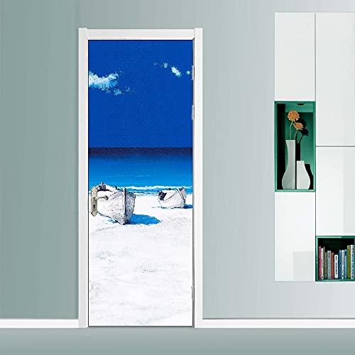 DFKJ Natura Fiori e alberi Paesaggio Adesivi per Porte autoadesivi Impermeabili Decorazione artistica Carta da parati Decorazioni per la casa Stampa immagini A16 95x215 cm