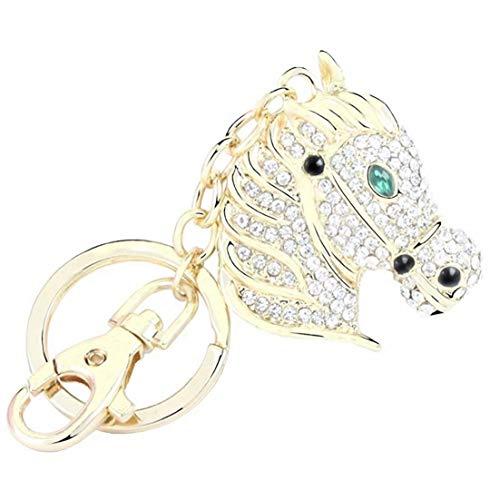 Quadiva ciondolo da borsa cavallo, da donna - Bag Charm Horse - (colore: Oro/Verde), decorato con cristalli