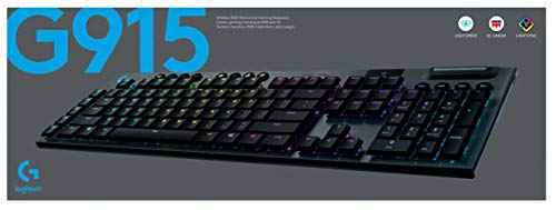 Logitech G915 LIGHTSPEED Tastiera Gaming Meccanica Wireless, Profilo Ribassato, GL-Linear Switches, LIGHTSYNC RGB, Design Ultrasottile, +30 ore di Durata della Batteria, QWERTY US Layout, Nero