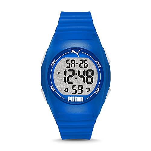 PUMA Unisex Puma 4 LCD, Blau Plastic Uhr, P6013