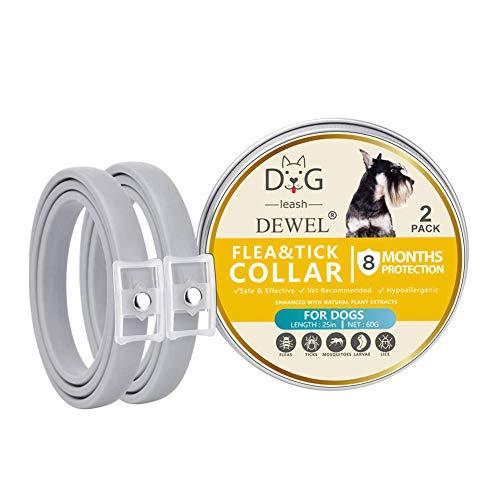 DEWEL Collar Antiparasitos Perro/Gato para Pulgas,Garrapatas y Mosquitos,Impermeable/Ajustable - 2 Piezas,63 cm