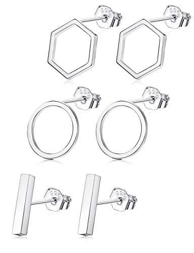 Sllaiss 3 Pairs 925 Sterling Silver Stud Earrings Set Bar Earrings Geometric for Women Men Circle Earrings Hexagon Hypoallergenic Different Shapes
