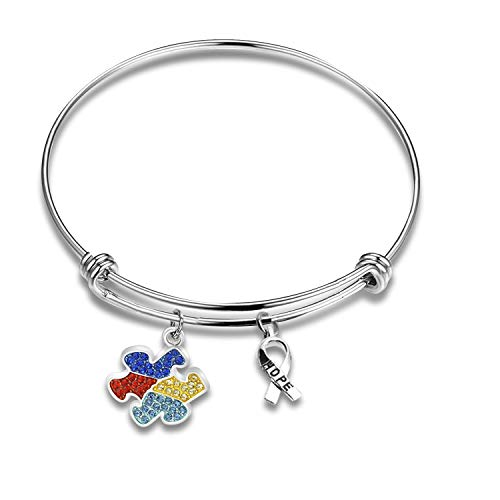 CHOROY Autism Puzzle Piece Necklace with Hope Ribbon Charm Asperger Awareness Jewelry Gift for Autism Mom/Autism Teacher/Autistic Girl (Autism Awareness Bracelet)