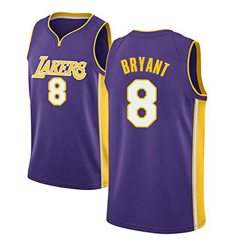 Bryant Men's Jerseys Laker, Negro Mamba # 8 2021 New Temporada Baloncesto Uniforme Camiseta Bordado Sports Chaqueta Chaleco Vestido Transpirable Sudadera (S-XXL) XXL