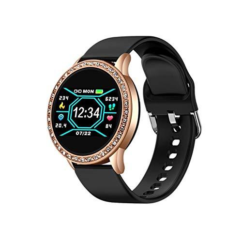 YDK Señoras Y Relojes Inteligentes para Hombres, Bluetooth Impermeable Deportes Tarifa Cardíaca Presión Arterial Fitness Smart Relojes Múltiples Modos Deportivos Adecuados para Android iOS,A