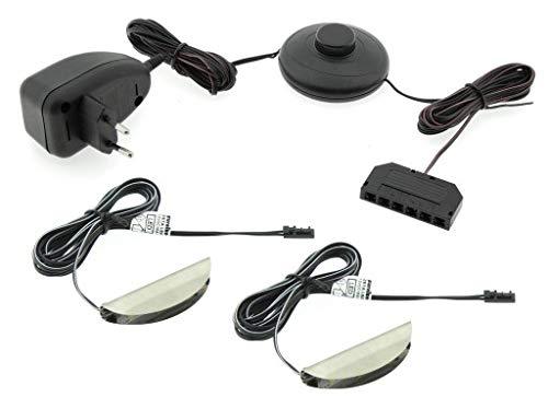 LED Glasbodenbeleuchtung 2er / 4er / 6er Set LED Clips LED Vitrinenbeleuchtung Schrankbeleuchtung inkl. LED Netzteil 230V (2er Set - Warmweiß 3500)