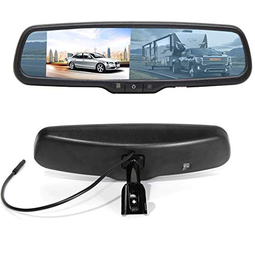 RED WOLF 4.3' Anti-glare Rear View Backup Mirror Monitor W/Dual Channel Fit Ford F150 2004-2014, F250/350 04-2015, Toyota Tacoma 2011-2015, Corolla RAV4 2008-2014, 2010-2014 Chevy Equinox