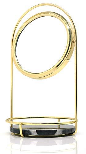 PuTwo Kosmetikspiegel 1 Fach & 3 Fach Doppelseitiger Schminkspiegel mit Aufbewahrung aus Schwarzem Marmor Runder Spiegel Vintage 360 Grad Drehbarer Standspiegel Schlafzimmer Badzimmer - Gold & Schwarz