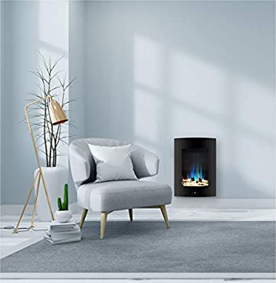 Cambridge CAM19VWMEF-2BLK 19.5 In. Vertical Electric Fireplace in Black with Multi-Color Flame and Driftwood Log Display