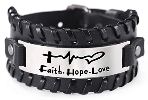 VASSAGO Inspirierende Worte Glaube Hoffnung Liebe Geflochtenes Lederarmband Graviertes Kreuz und Herzschlagmuster Edelstahl Anhänger Armband für Männer (schwarz)