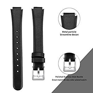 """MEFEO Compatible with Fitbit Inspire Bands/Inspire HR Band, Genuine Leather Slim Soft Strap Wristbands Accessories Replacement for Fitbit Inspire Fitness Tracker (Black, Large (6.6""""-8.8""""))"""