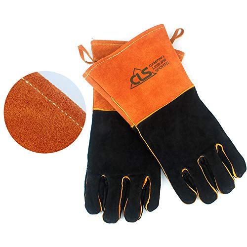 YOPU Barbecue Gloves Heat Resistant Fire Protection Leather Gloves High Temperature Insulation Gloves for Grill, Welding, Fireplace Cooking, Wood Stove, Oven and BBQ