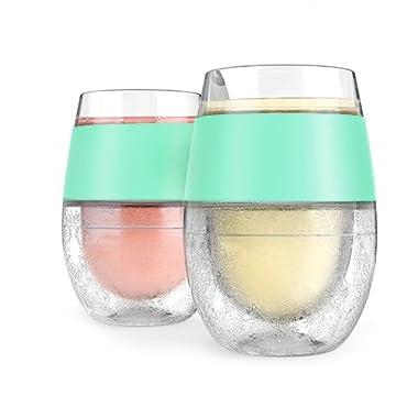 Host Wine Freeze Cooling Cups, Mint (Set of 2)