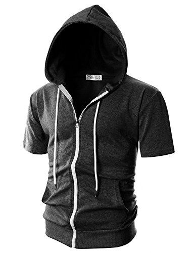 Ohoo Mens Slim Fit Short Sleeve Lightweight Zip-up Hoodie with Kanga Pocket/DCF007-CHARCOAL-XL