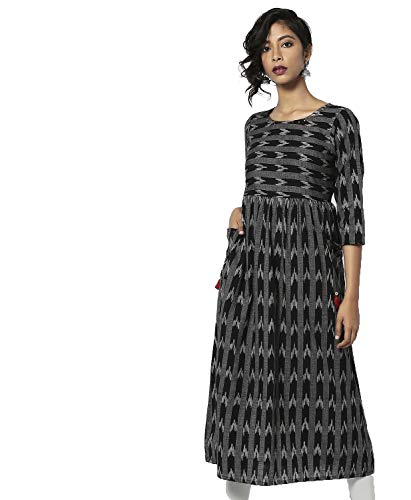 Morpankh Printed Flared Kurta - Medium Black