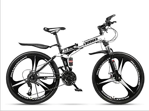 COUYY Double Shock 26 inches Black and White, Triangle Wheel Folding Bike Mito, Double disc Mountain Bike Bicycle Adult Male and Female Students,24 Speed