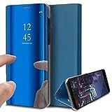 DOHUI für Huawei Mate 40 Pro Hülle, Slim Spiegel PU Flip Handyhüllen Tasche Kratzfeste Magnetic Lederhülle Etui mit Standfunktion Schutzhülle für Huawei Mate 40 Pro (Blau)