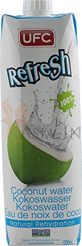UFC Reines Kokoswasser 100{3024bef4a71d12c498340ec8fac7fc093a4a9ad6b2b55b36f529c953fbbf06ee} Pure Kokosnusswasser Thailand 1 Liter Coconut Water 12er Pack