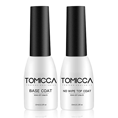 TOMICCA 2 * 10ML No Wipe Top Coat et Base Coat Primer ongle Semi Permanent UV LED Soak Off Vernis à Ongles, Base et Top Coat Vernis Manucure Kit,Base hybride Keratin et le top coat hybride Shine