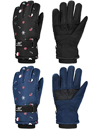 2 Pairs Kids Mittens Children Winter Snow Waterproof Thick Warm Windproof Gloves for Girls Boys (Black and Dark Blue Snowflake Style,3 - 6 Years)