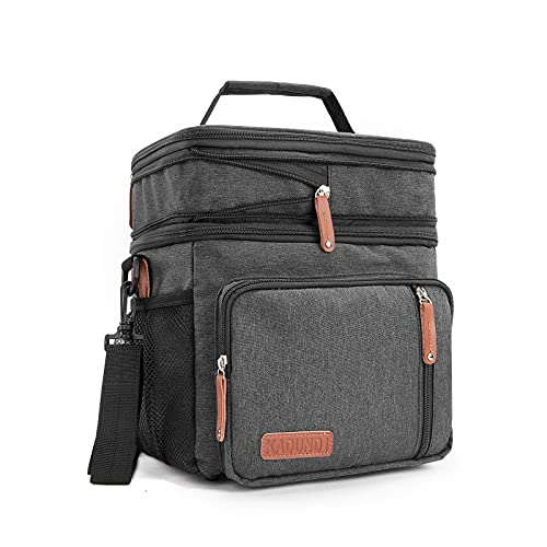 Men's Double Compartment Lunch Bag, Insulated Lunch Cooler Tote Large Expandable Reusable Water-resistant Lunch Box,Black