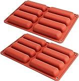Twinkie - Molde de silicona para tartas (2 unidades, forma de dedo), diseño cilíndrico, para hornear, jabón, resina, barra de chocolate