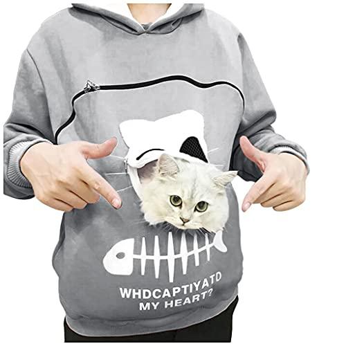 BIBOKAOKE Sudadera con capucha para mujer con cremallera y bolsillo para gatos. Sudadera con capucha de manga larga para otoño e invierno., Mujer, Grau39., extra-large