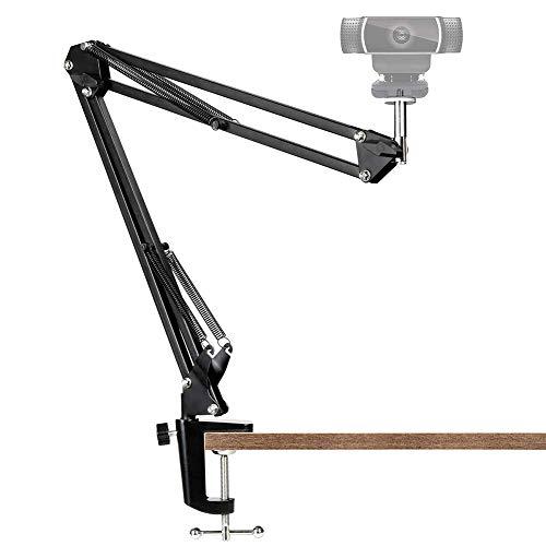 """Soporte de cámara web para teléfonos móviles, abrazadera de escritorio ajustable, brazo de suspensión, brazo de tijera, soporte con clip de montaje, tornillo de 1/4""""incorporado"""