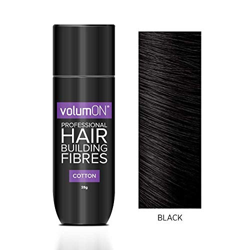 Volumon Professional Hair Gebäude Fibres- Haarausfall Concealer- Baumwoll- 28g- bis zu 30 Holen Sie Gebrauch- VOM 8 HAIR SHADES Farben Wählen Sie (Black)