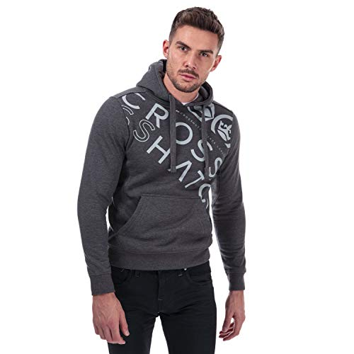 Mens Crosshatch Black Label Lapout Logo Hoody in Charcoal