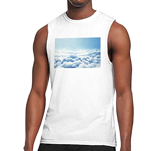Fluffy Clouds with Rainbow Sky Men's Graphic Printed Classic Muscle Sleeveless Gym Workout T Shirt Camisetas y Tops(XX-Large)