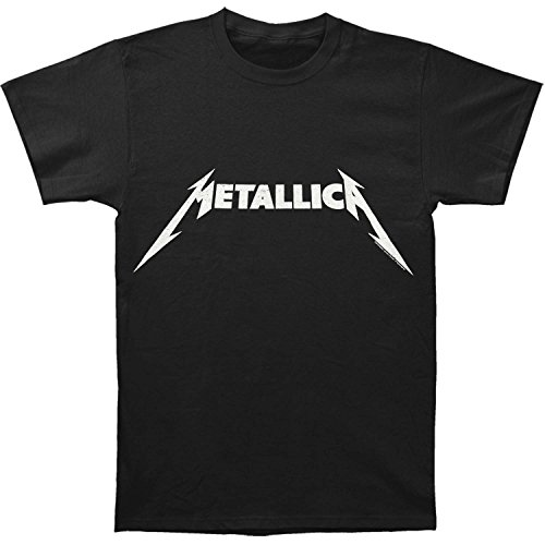 Metallica Black and White Logo Adult T-shirt - Black (Large)