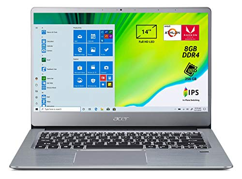Acer Swift 3 SF314-41-R867 Notebook con Processore AMD Athlon 300U, Ram 8 GB DDR4, 256 GB PCIe NVMe SSD, Display 14' FHD IPS LED LCD, Scheda Grafica AMD Radeon Vega Mobile Gfx, Windows 10 Home,Silver