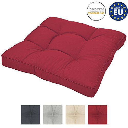 Beautissu Cuscino Lounge da Esterno XLuna - Comoda Seduta 40x40x10cm - per mobili e Arredamento da Giardino - Rosso
