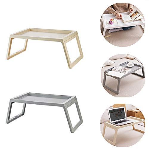 SYGEZJ Mesa Plegable para Laptop en la Cama, Bandeja de Cama con Patas Plegables para Leer/Comer/Mirar películas en la Cama, etc, con Ranura para Tarjetas multipropósito. (Gray)