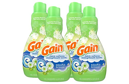 GAIN Liquid Fabric Softener, Blissful Breeze, 41 Fl Oz 48 Loads, 4 Count