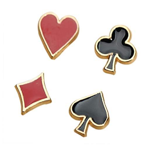 4pcs / Set Poker Elemento Metálico Material Pequeño Broche Broche Picas Melocotón Rojo Cuadrado De Picas Ciruelo Collar Broche De La Flor Apliques
