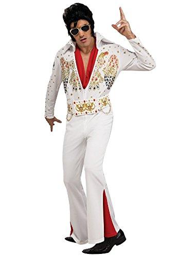 Tante Tina Elvis Kostüm für Herren - 3-teiliges Rockstar Kostüm inklusive Overall , Gürtel und Halstuch - Weiß - Größe S ( 46 / 48 )