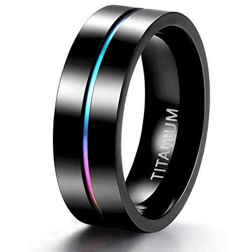 TIGRADE 5mm 7mm Rainbow Titanium Ring Colorful Thin Groove Wedding Band Couple Rings Size 5-13, 7mm, Size 10