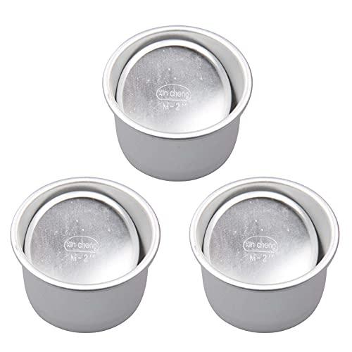 Ruby569y - Stampo per biscotti per torte, 3 pezzi, 5,1 cm, in lega di alluminio, con fondo rimovibile e leggero, rotondo, per torte da forno, 5,1 cm